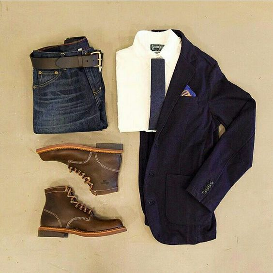 Outfit grid - Jacket, jeans & boots