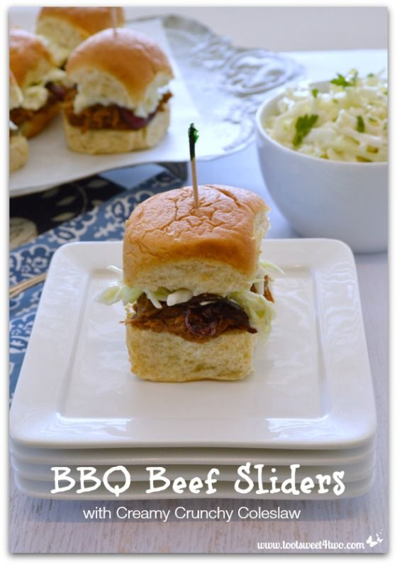 BBQ Beef Sliders with Creamy Crunchy Coleslaw