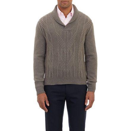 Barneys New York Shawl-Collar Aran Sweater at Barneys.com