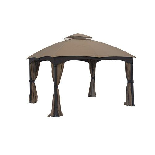 Allen Roth Brown Metal Rectangle Screened Gazebo Exterior 10 662 Ft X 12 795 Ft Foundation 10 Ft X 12 Ft Lowes Com Screened Gazebo Gazebo Steel Gazebo