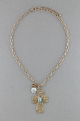 Gold Stone Cross Necklace #necklace #jewellery amusemeboutique.com