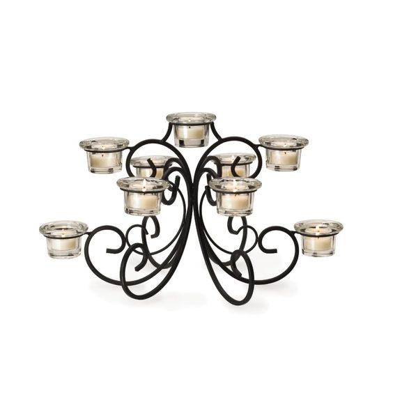 waterfall shaped Candelabra Centerpiece with Tealights ~for sale~~~~  #wedding, centerpiece, home decor or gift idea.  ~~~~ www.CandelabraCenterpieces.info