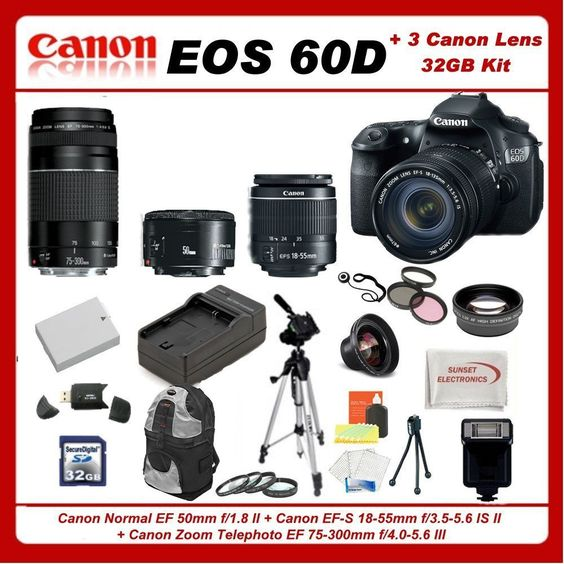Canon EOS 60D DSLR Camera Kit w/3 Canon lens: Feat.Canon EF-S 18-55mm f/3.5-5.6 IS II + Canon Nml EF 50mm f/1.8 II + Canon Zm EF 75-300mm f/4.0-5.6 III Autofocus Lns, Incl: 0.45x Hi-Def Wd Angle Lns & 2x HD Lns, 3 Pc Filter Kit & 4 Pc Macro Lns Kit, xtra LE-E6 Replacement Batt. & Tvl Chrgr, 32GB SDHC Mem Cd & Rdr, Much More...  http://www.amazon.com/gp/product/B005J4Y422/ref=as_li_tf_tl?ie=UTF8=1789=9325=B005J4Y422=as2=hotomamoon0d8-20