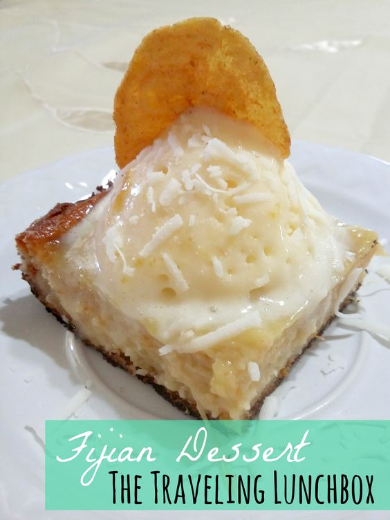Fijian Dessert: Cassava Cake with mango ice-cream. Perfect for the summer! Read more at: http://thetravelinglunchbox.tumblr.com/post/124198901187/welcome-to-fiji-bula-bula-is-a-very-common