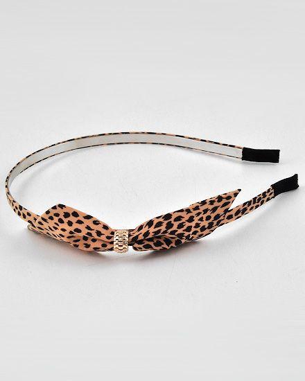 Tan Color Leopard Print Fabric / Lead Compliant / Bow Tie / Headband Hair Accessory