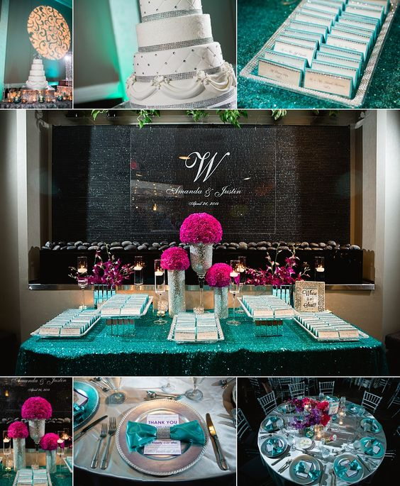 Wedding reception decor and wedding cake at the Piazza in the Village in Colleyville, TX Photo by Vanja D Photography www.vanjad.com