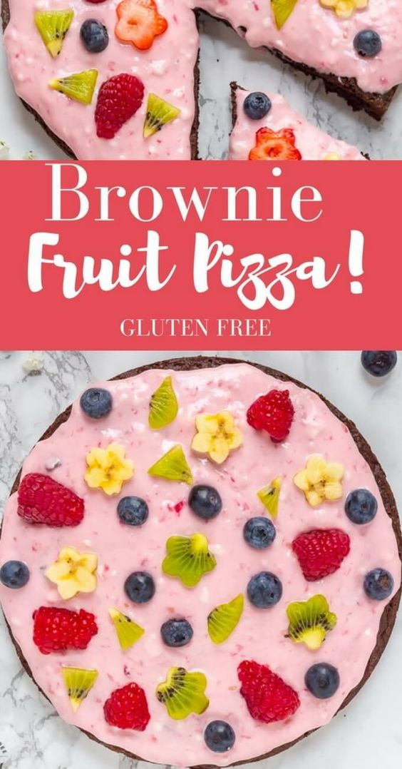 Make this pretty Gluten Free Fruit Pizza with a box of brownie mix for the pizza…