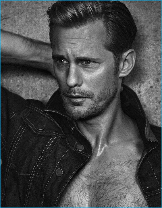 Sporting a denim jacket, Alexander Skarsgård graces the pages of Vanity Fair Italia.