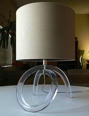 Vintage DOROTHY THORPE pretzel TWIST LUCITE acrylic TABLE LAMP mid-century, via Zuburbia