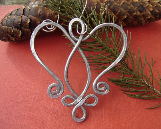 Celtic Angel Heart Ornament - Tree Ornament Aluminum Wire - Christmas Ornament - Holiday Gift: