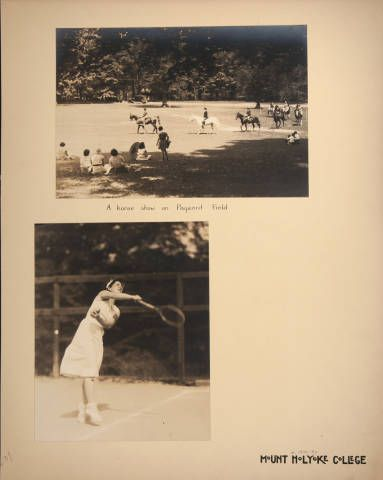 Mount Holyoke View Book, scenes of a horse show on Pageant Field and a student playing tennis :: Archives & Special Collections Digital Images :: circa 1930-1937