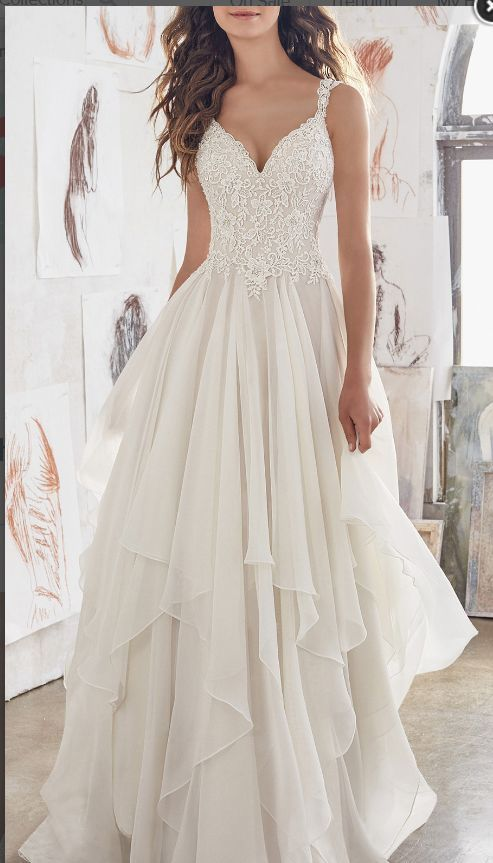 Double shoulder with lace chiffon wedding