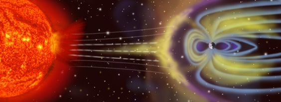 Artists depiction of solar wind particles interacting with Earths magnetosphere. Sizes are not to scale (Source: NASA) #EIA #electricalgrid #USA #NASA