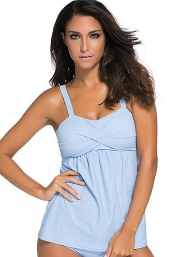 Solid Blue Open Back Tankini Set on sale only US$31.14 now, buy cheap Solid Blue…
