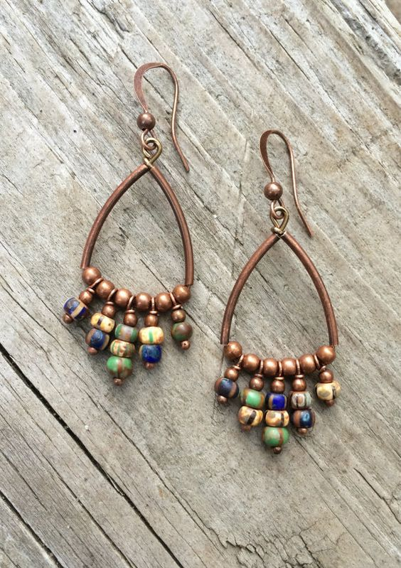 Boucles d'oreilles en cuivre / Bohème boucles par RusticaJewelry