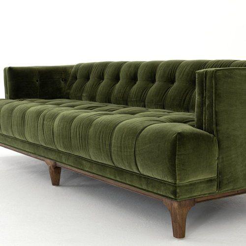 Dylan Mid Century Modern Olive Green Velvet Tufted Sofa Cheap