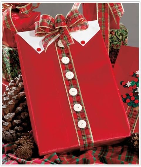 Christmas shirt gift wrap with plaid ribbon and white buttons
