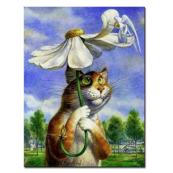 DIY Painting Uhantik Cat World By Vladimir Rumyantsev Paint By Numbers Kit Art