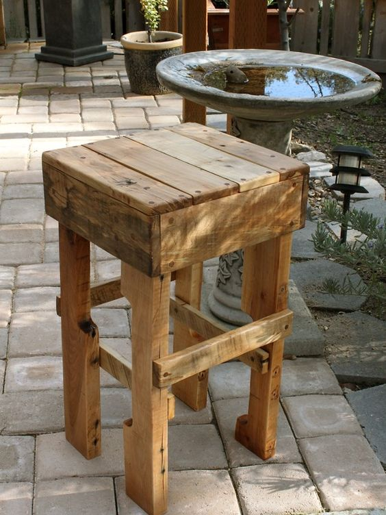 Pallet bar stool love these for the kitchen or outdoor bar would be super cheap to make - Rustic bar stools cheap ...