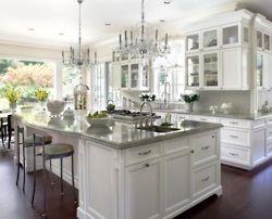 white kitchen: White Kitchen, Grey Counter, Kitchen Design, Kitchen Chandelier
