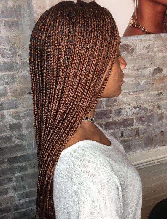 Long Golden Brown Micro Braids #braidedhairstyles #longboxbraids