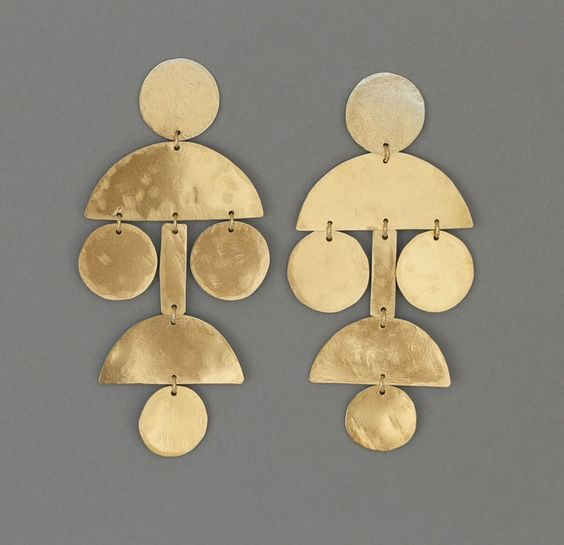 amazing annie costello brown earrings in brass.  very tribal.  i love them!: