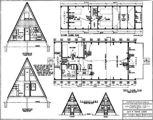 A Frame House On The Beach Project Small House A Frame Plans For A 36 A Aframe Beach House Plans Project Small En 2020 Club