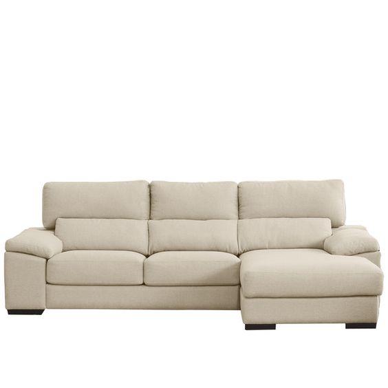 Sofá de 3 plazas con chaiselongue derecho con pufs laterales