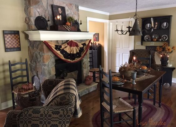 Primitive Fall Decor In The Keeping Room Prim Furniture Pinterest The O 39 Jays Primitive