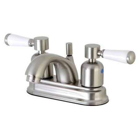 Kingston Brass Paris Fb2608dpl 4 Inch Centerset Lavatory Faucet With Retail Pop Up Drain Satin Nickel Bathroom Faucets Faucet Kingston Brass