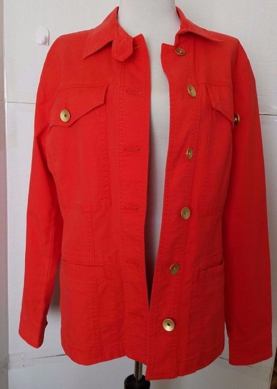 CAbi Jacket Taylor #727 Size Medium Bright Coral Ruffle Back Gold Buttons #CAbi #Military