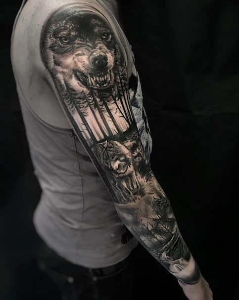 Sleeve Tattoos For Men Wolf Tattoo Ideas Sleeve Wolf Tattoo In 2020 Wolf Tattoo Sleeve Hunting Tattoos Sleeve Tattoos