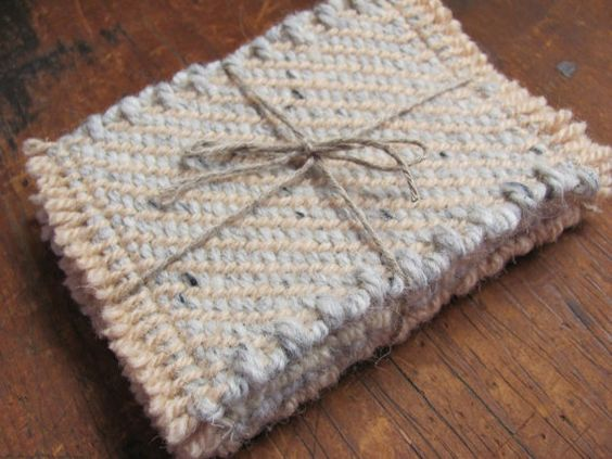 Coffee Mug Rug, Mat, Tea Cup Coasters, Handwoven Recycled Wool, Seaside Beach Cottage, Rustic Cabin, Country Farmhouse, Winter Home Decor. $40.00, via Etsy.