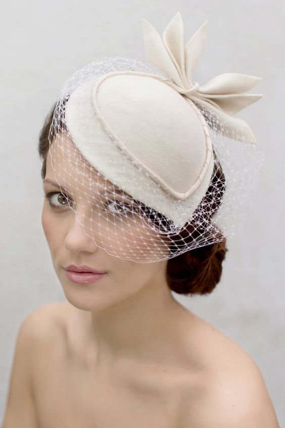 Off White Birdcage Veil Cocktail Hat Wool by MaggieMowbrayHats