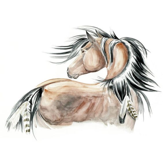 This/elements of this could make a beautiful tattoo. Original Watercolor Painting 20x275 Realistic Horse by fairysomnia, $155.00