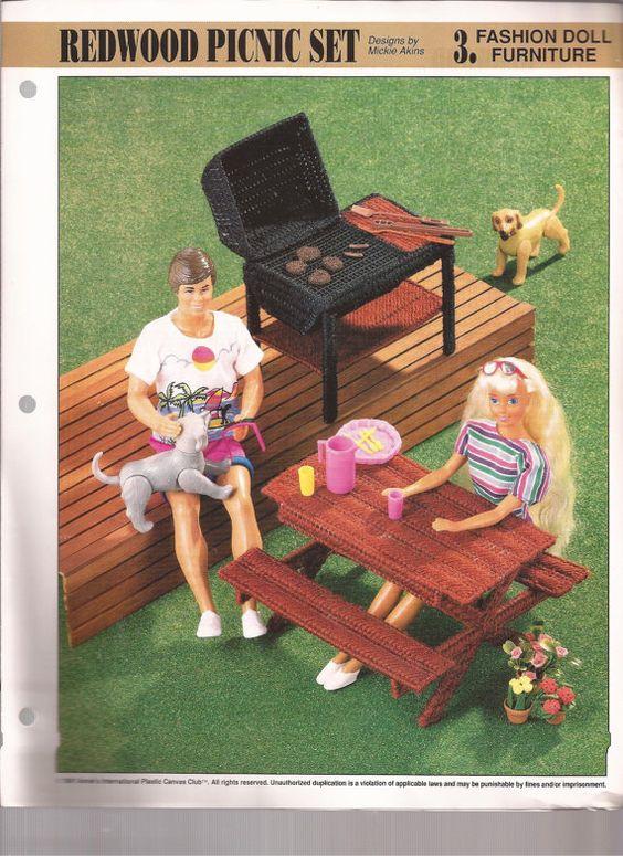 Fashion dolls pattern books plastic canvas picnics dolls plastic