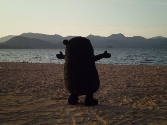 Kumamon, embracing the sea.