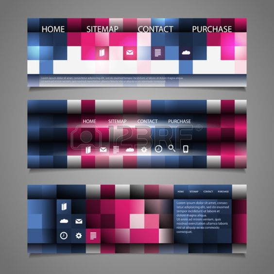 Web Design Elements - Abstract Header Designs with Colorful Checkered Pattern Stock Vector