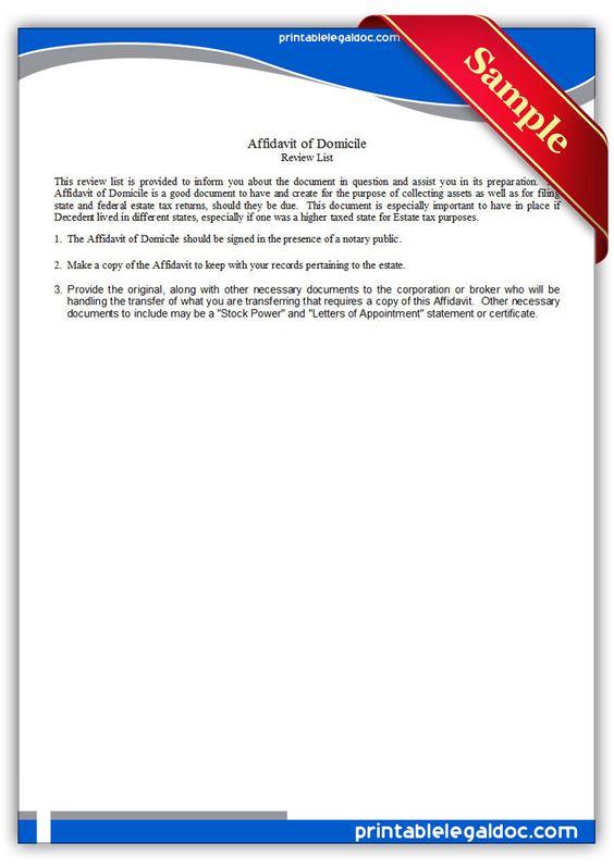 Free Printable Affidavit Of Domicile Legal Forms Free Legal - generic affidavit