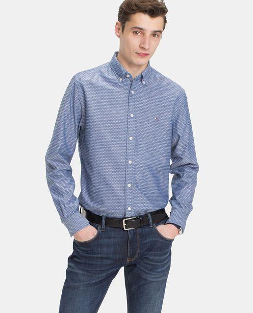 Camisa De Hombre Tommy Hilfiger Regular Estampada Azul Camisas Tommy Hilfiger Camisas Hombre Camisas Hombre