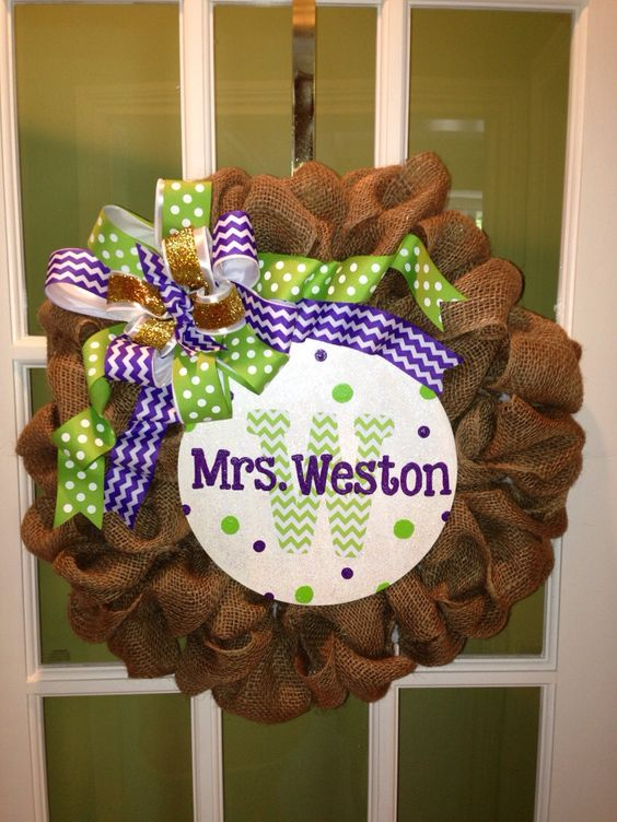 Classroom Wreath Ideas : Burlap classroom wreath for teachers by afwatson on etsy