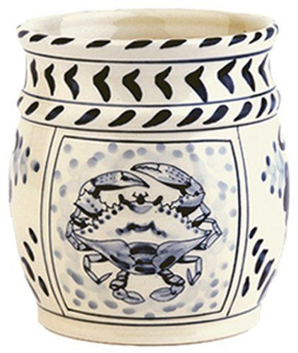 "Blue Crab Bay - 5.5"" Stoneware Utensil Holder / Tool Crock Designed By Artisan José Dovis by Blue Crab Bay. $24.99. Microwave- and dishwasher-safe. Designed by an Eastern Shore artisan José Dovis. 5.5"" Stoneware utensil holder / tool crock. Lead-free and oven-safe to 400°F. Blue Crab Stoneware by Dovis Designs is produced and hand-painted in Thailand exclusively for Blue Crab Bay Co. The stoneware is lead-free as well as microwave- and dishwasher-safe. It is also oven-s..."