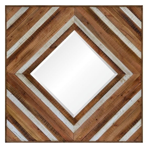 With an organic wood gradient in a retro diamond pattern, this square wall mirror adds an eclectic design element to any room.