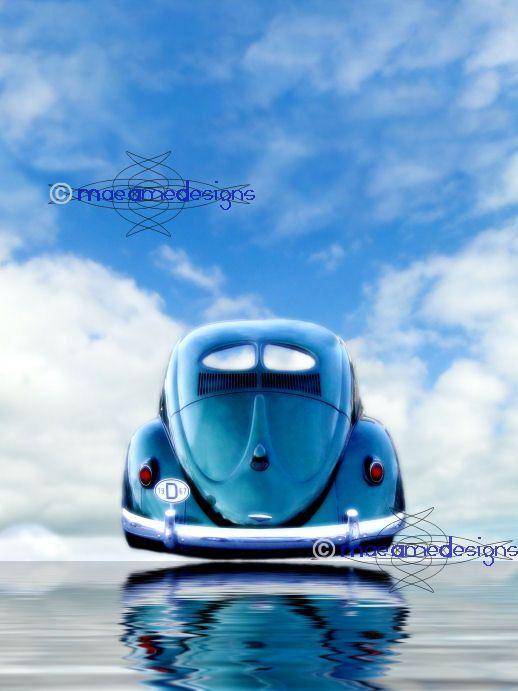 VW Beetle Split rear window vintage car surreal drive in the sky