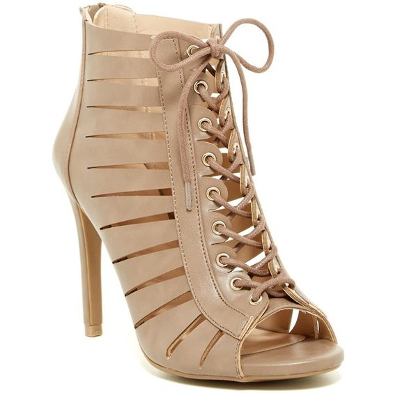 Legend Footwear Berlin Cutout Lace-Up Bootie ($30) ❤ liked on Polyvore featuring shoes, boots, ankle booties, taupe, lace up bootie, ankle boots, taupe booties, open toe booties and cut-out booties