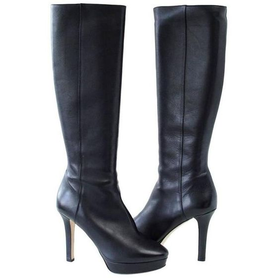 Preowned Jimmy Choo Boot Platform Knee High Black Leather 39 / 9 (840 CAD) ❤ liked on Polyvore featuring shoes, boots, black, leather boots, leather high heel boots, tall black boots, high heel boots and tall boots