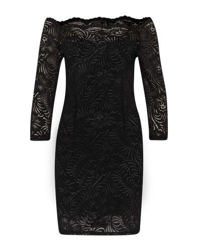Figurbetontes Spitzenkleid mit Carré-Ausschnitt von Vila. Das elegante Dress kommt mit Dreiviertelarm und ist mit einem kontrastierenden blickdichten Unterstoff verarbeitet. Im Schulterbereich und an den Ärmeln lässt transparente Spitze einen Blick auf die Haut zu.