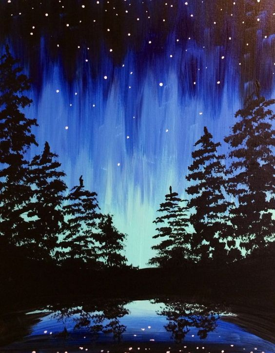paint and sip event aurora through the trees memorial