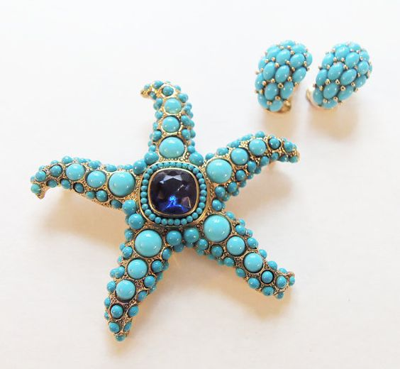 Kenneth Jay Lane Turquoise Starfish Brooch by CollectionsbyAnn2