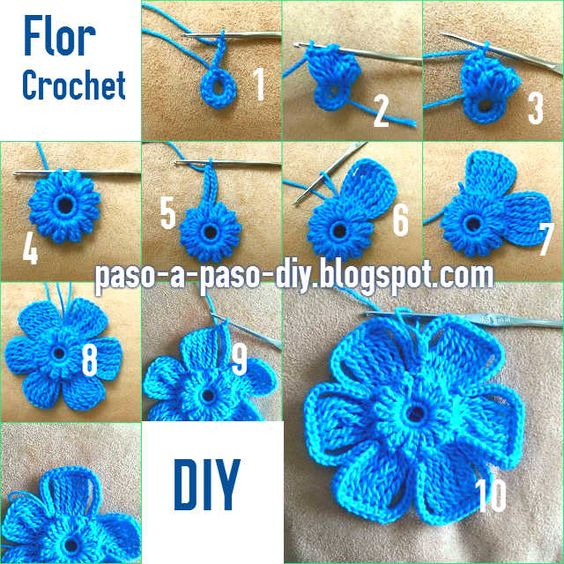 Como se teje flor con ganchillo crochet flores - Hacer flores de ganchillo ...